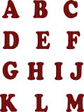 Red knitted alphabet on white background. Vector abc