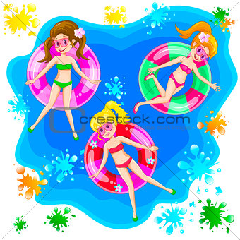 Girls swim with an inflatable circle