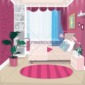Empty pink children room for girl
