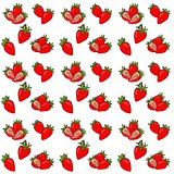 Seamless pattern with isolated hand drawn red strawberry. Vector Illustrarion with berries and strawberry slices.