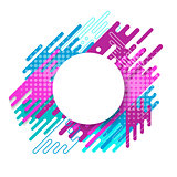 Circle label with bright abstract shapes