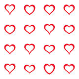 Vector simple red heart icons collection