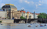 National Theater with historical houses on the Vltava riverbank. Prague, Czech republic, Europe