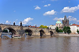 Charles Bridge, Old Town Tower and the Church of  Francis of Assisi. Prague, Czech Republic, UNESCO.
