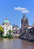 Charles Bridge  and Church  Francis of Assisi. Prague, Czech Republic, UNESCO