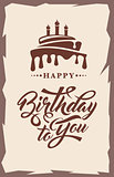 Invitation card with cake and text Happy Birthday