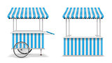 Realistic set of street food kiosk and cart with wheels. Mobile blue market stall template. Farmer kiosk shop mockup. Vector illustration
