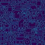 Cleaning Dark Line Seamless Pattern