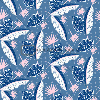 Blue jungle leaves pattern for summer seamless prints.