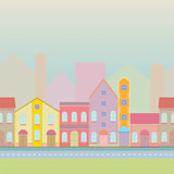 House buildings, home seamless background pattern