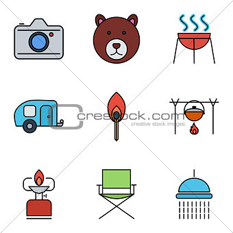 Camping vector outline stroke icon.