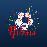 Russia text flag and soccer ball symbol football