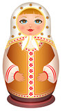 Russian girl wooden doll. Traditional national toy matryoshka