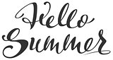 Hello Summer handwritten calligraphy text greeting card