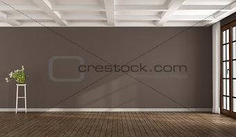 Empty brown room