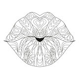 Zentangle stylized lips for coloring. Hand Drawn lace vector illustration