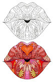 Zentangle stylized lips. Hand Drawn lace vector illustration