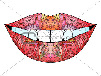Zentangle stylized smile. Hand Drawn lace vector illustration