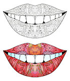 Zentangle stylized smile for coloring. Hand Drawn lace vector illustration