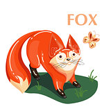 Educational flashcard fox and flying butterfly