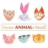 Educational flashcard animals heads
