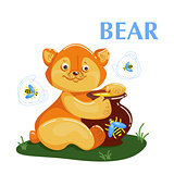 Educational flashcard bear eating the honey and flying bee