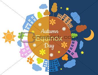 Autumn equinox day and night
