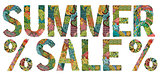 Words summer sale. Vector decorative zentangle object