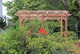 Wood Arbor in Garden Landscaping