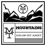 Mountain Vintage Logo Template Emblem. Badge for Advertising, Retro Style Vector Illustration