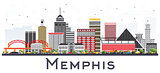 Memphis Tennessee City Skyline with Color Buildings Isolated on