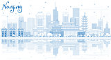Outline Nanjing China City Skyline with Blue Buildings and Refle
