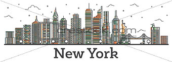 Outline New York USA City Skyline with Color Buildings Isolated