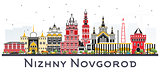 Nizhny Novgorod Russia City Skyline with Color Buildings Isolate