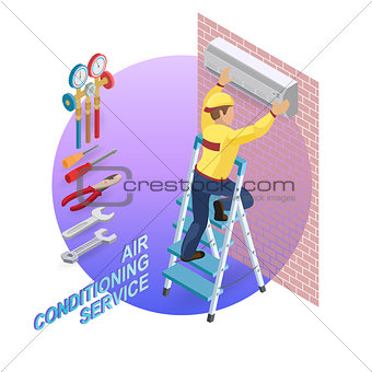 Isometric interior repairs concept. System of air conditioning.