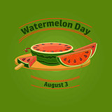 Watermelon day poster. Vector.