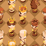 Chess seamless pattern with isometric cartoon chess pieces.