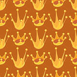 Seamless pattern with cartoon golden crown. Cute background.