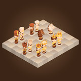Isometric cartoon chess pieces. Vector flat illustration.