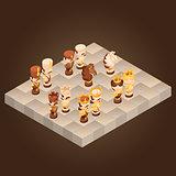 Isometric cartoon chess pieces. Vector flat illustration.