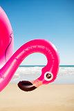 pink flamingo swim ring on the beach