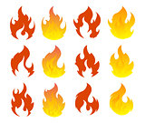 Fire icon set. Design element