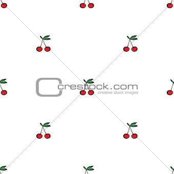Pair of cherries seamless pattern on white