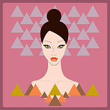 Beautiful stylish young woman face on dark pink background with triangle geometric shapes. Style of 80s