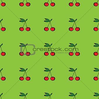 Pair of cherries seamless pattern on green
