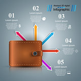 Wallet, money icon. Business infographic.