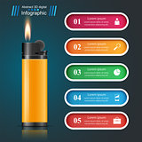 Realistic lighter - business infographic and marketing icon.