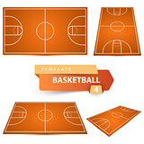 Basketball court. Four items sport template.