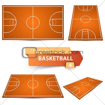 Basketball court. Four items sport template.