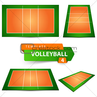 Volleyball court. Four items template.
